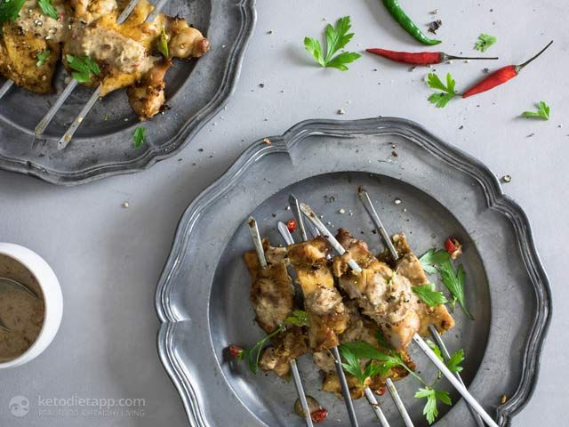 Low-Carb Chicken Skewers with Spicy Almond & Tahini Satay | The KetoDiet App Blog | Bloglovin'