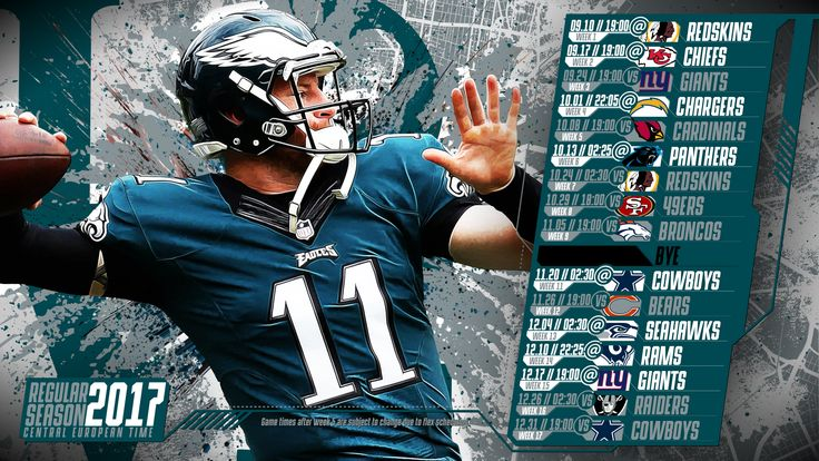 Schedule wallpaper for the Philadelphia Eagles Regular Season, 2017 Central European Time. Made by #tgersdiy
