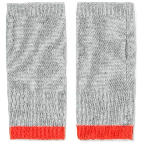 DUFFY Ribbed wool and cashmere-blend fingerless gloves (100 AUD) ❤ liked on Polyvore featuring accessories, gloves, wool gloves, orange gloves, duffy, fingerless gloves and wool fingerless gloves