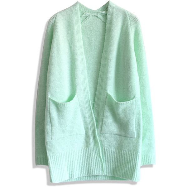 Chicwish Basic Pocket Knitted Cardigan in Mint ($44) ❤ liked on Polyvore featuring tops, cardigans, green, mint green cardigan, mint green top, mint cardigan, green cardigan and mint top