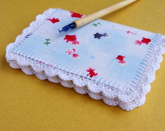 crochet edged note book
