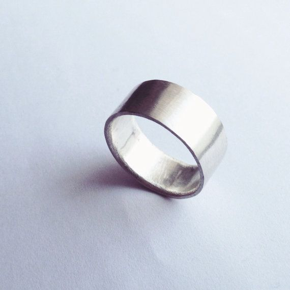 Silver Chunky Ring Wide Plain Band Sterling Men's by firewhite