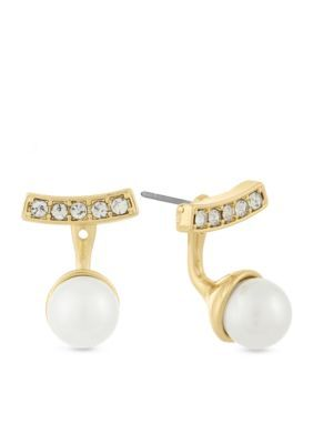 Laundry By Shelli Segal Women Pearl Ear Jacket Earrings - Gold - One Size