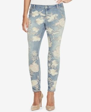 Jessica Simpson Kiss Me Patched Skinny Jeans - Blue 28