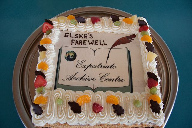 The cake we had made for the farewell party for our Director, Elske van Holk. Archive logo!