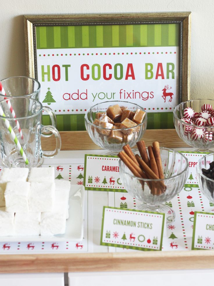 {Free Printables} I love entertaining bars--simple decorations, prepared beverages or treats, everyone gets to create their own special drink and you get to enjoy the party as well! Hot cocoa is a very cute idea for the kids. (And why not a grown-up surprise one evening with a little peppermint or marshmallow-flavored liquour?)
