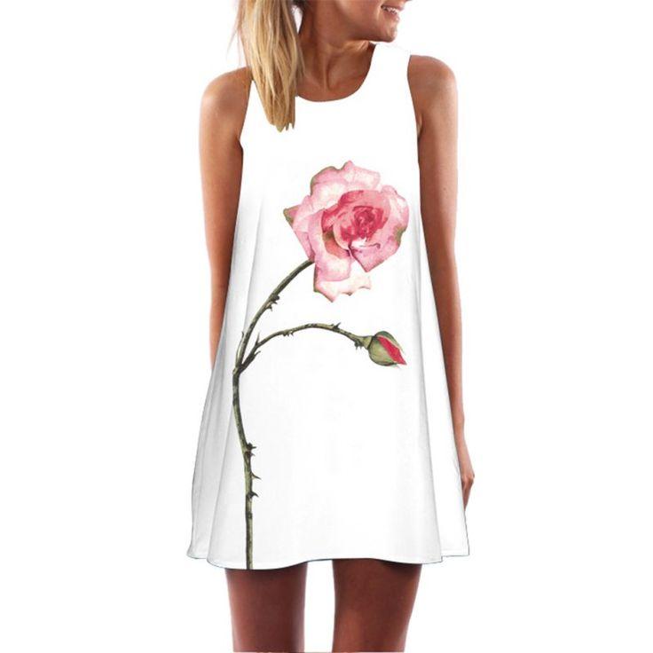 Mode vrouwen zomer boho sexy mouwloze party gedrukt strand korte mini dress 10 stijlen
