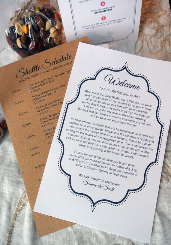 Custom Wedding Welcome Letter, Printable, DIY, Welcome Bag, Letter to Guests,  Black & White, Any Color. From Sangria Studios on Etsy.