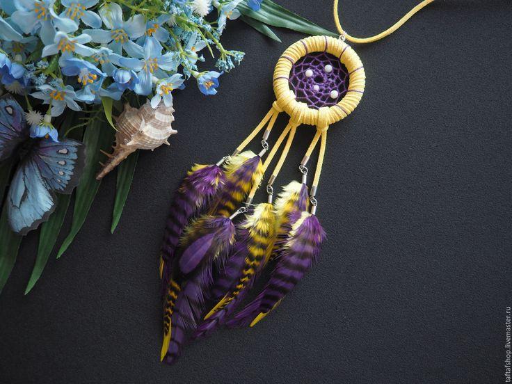 Поле тюльпанов - жёлтый кулон ловец снов с перьями бохо - перья, перо, бохо