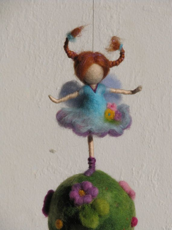 Waldorf inspired needle felted nursery mobile by Made4uByMagic, $58.00
