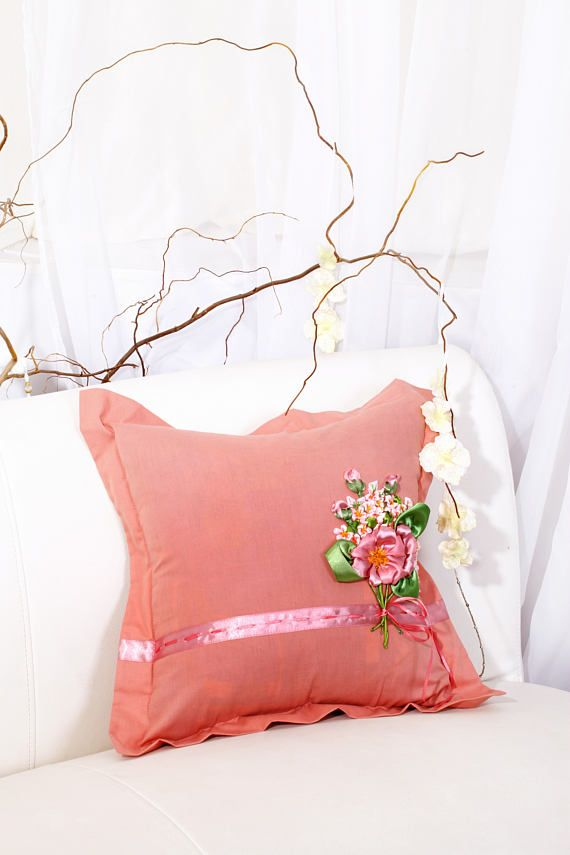 Embroidered Pillowcase Pink bouquet home decor  cushion cover #вышивка_лентами  #ribbon_embroidery #ribbonembroidery #silk_ribbon_embroidery #embroideryribbon #fashionagram  #EmbroideredPillowcase  #Pinkbouquet  #homedecor  #decorativepillow   #PillowCover  #floralembroidery  #romanticstyle