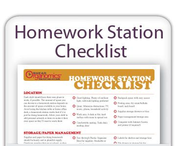Homework Station Checklist --- As a former teacher, I find this list extremely helpful in getting students to become  focused on how important it is to keep their work organized at an early age
