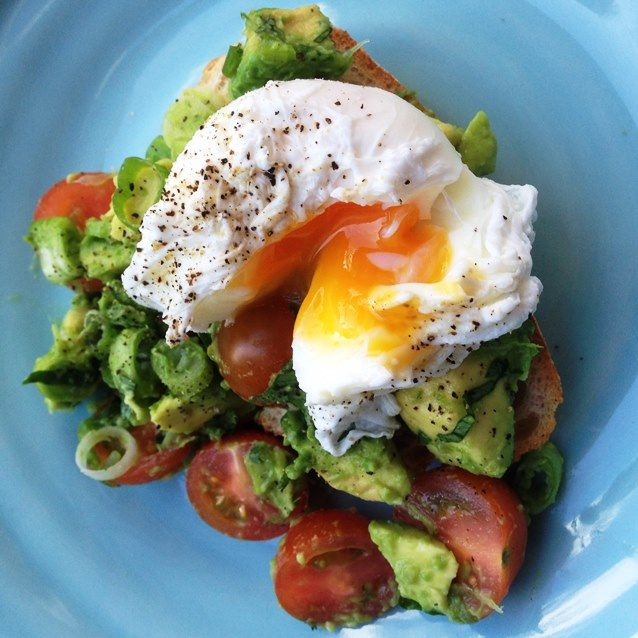 Eat, Fast and Live Longer. A 5-2 Fast Diet Recipe Idea Under 400 Calories. Brunch Bruschetta With Soft Poached Egg  and Avocado Salsa