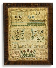 Rare American needlework sampler by Lucy Coit (1773-1845, Norwich, Connecticut, USA 1785