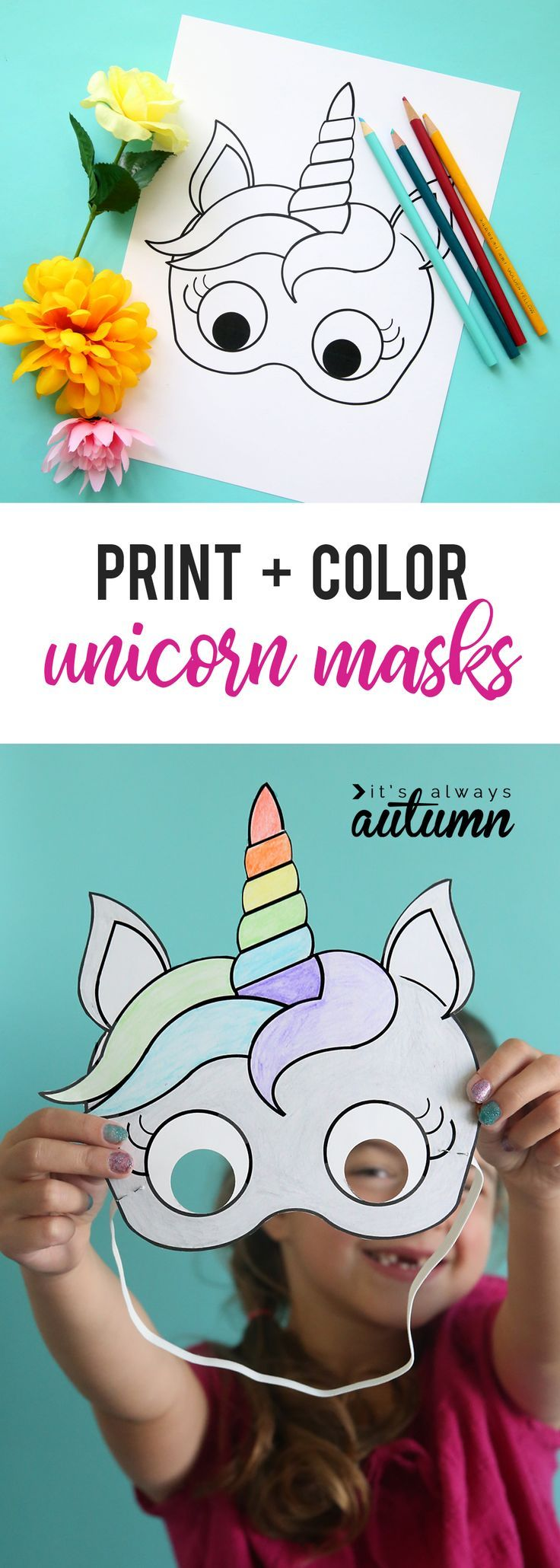 unicorn masks to print and coloration {free printable