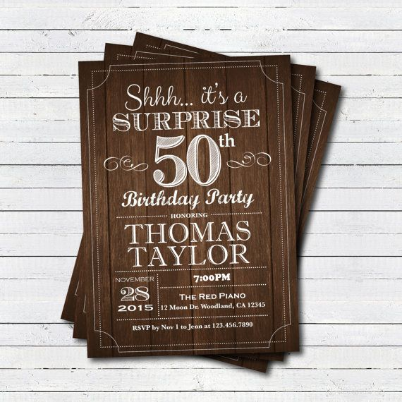 Surprise 50th birthday invitation. Adult man any age. by ...