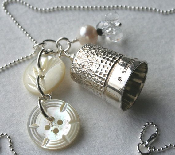 Thimble Charm Necklace Vintage Sterling Silver Crystal Mother Of Pearl Buttons