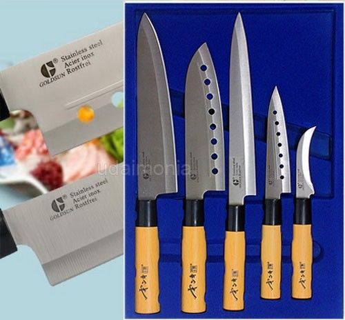 Kitchen Knife Set Chef Knives Sashimi Chef's Knife Stainless Steel Cutlery #Goldsun