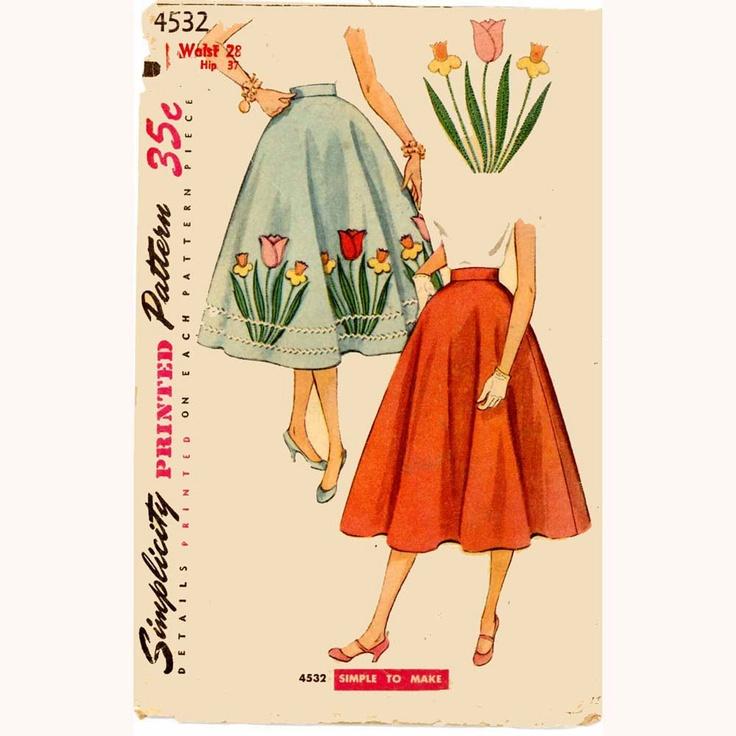 Rockabilly Poodle Skirt Simplicity 4532 Vintage Sewing Pattern Waist 28 895 Via Etsy