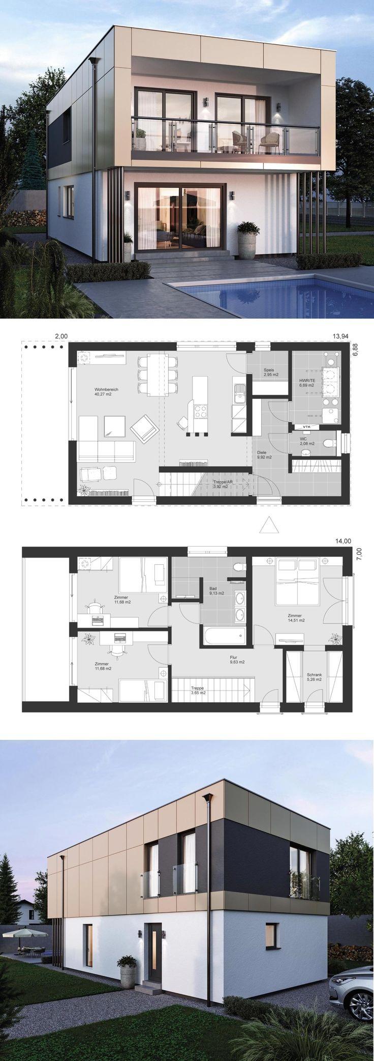 Moradia design moderno com telhado plano arquitetura de estilo Bauhaus – prefab …   – HausbauDirekt