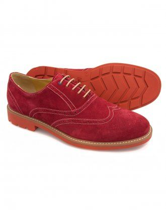 Steptronic Laser - Red Suede Lace Brogue Shoes