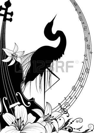 illusztráció hegedű és gém, fekete és fehér színben
