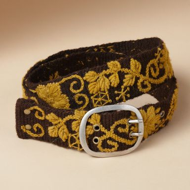 "PERUVIAN GARDEN BELT -- Enliven your jeans with our hand-stitched wool belt, lavished with flowers and scrolling vines. Antiqued metal buckle. Made in Peru. Catalog exclusive. Sizes S (0 to 4), M (4 to 8), L (8 to 12). 2""W."