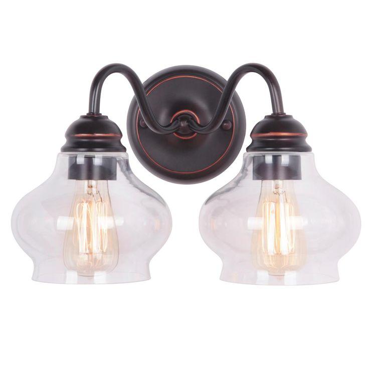 clear cloche glass bath light 2 light - Oil Rubbed Bronze Bathroom Lighting