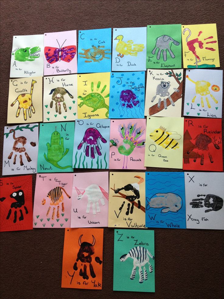 The ABC's of my children! My daughters had great fun turning their handprints into the animals of the alphabet.