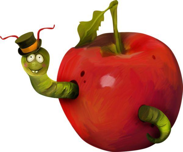 Картинка яблочко с червячком, картинки про