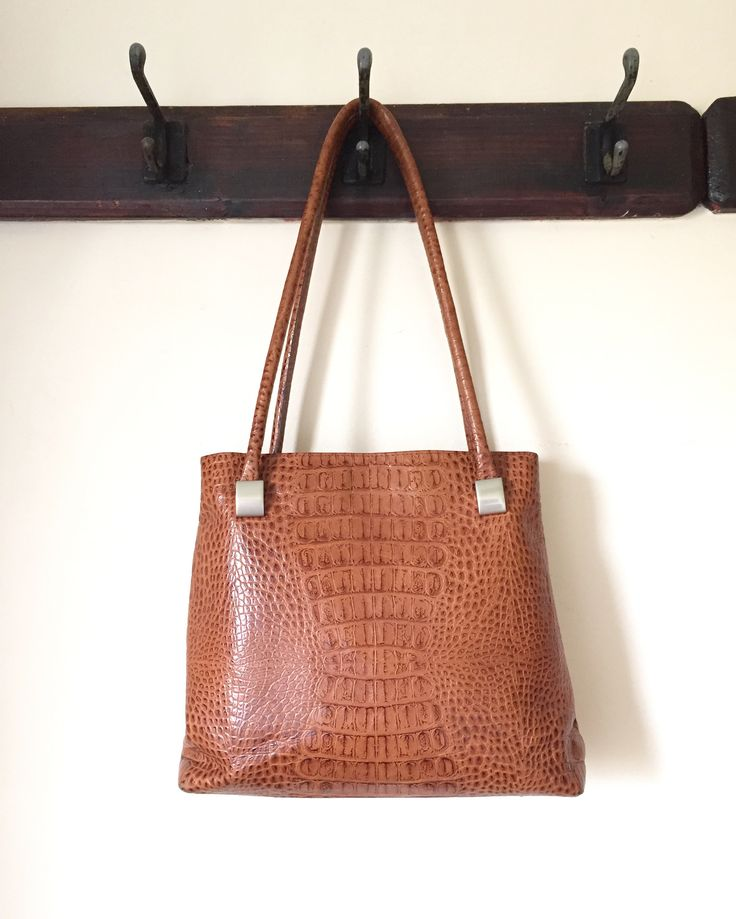 Vintage crocodile print leather shoulder bag