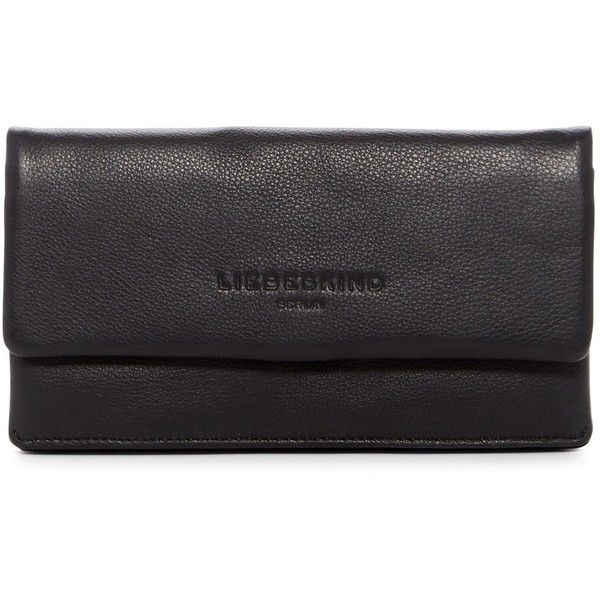 Liebeskind Berlin Classic Foldover Leather Wallet ($60) ❤ liked on Polyvore featuring bags, wallets, nair black, genuine leather wallet, liebeskind, bill fold wallet, snap wallet and real leather wallets