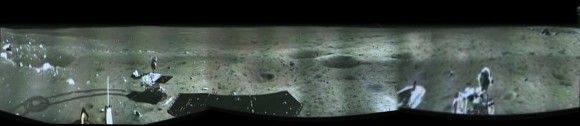 1st panorama around the Chang'e-3 landing site after China's Yutu rover drove onto the Moon's surface on Dec. 15, 2013. The images were taken by the Chang'e-3 lander following Dec. 14 touchdown. This panoramic view around the landing site was created from screen shots of a news video and assembled into a mosaic. Credit: CNSA/CCTV/screenshot mosaics and processing by Marco Di Lorenzo/Ken Kremer