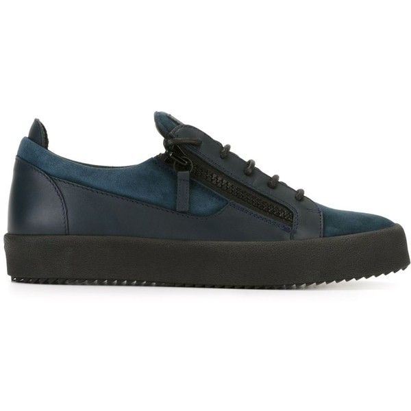 Giuseppe Zanotti Design 'Frankie' sneakers ($680) ❤ liked on Polyvore featuring men's fashion, men's shoes, men's sneakers, blue, shoes, mens blue sneakers, giuseppe zanotti mens shoes, mens lace up shoes, mens blue shoes and mens flat shoes