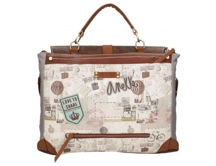 Bolso portadocumentos, maletín con motivos de mapa antiguo, estilo vintage, detalles dorados, compra online, bolsos Anekke, bolsos mujer, ideales para regalos
