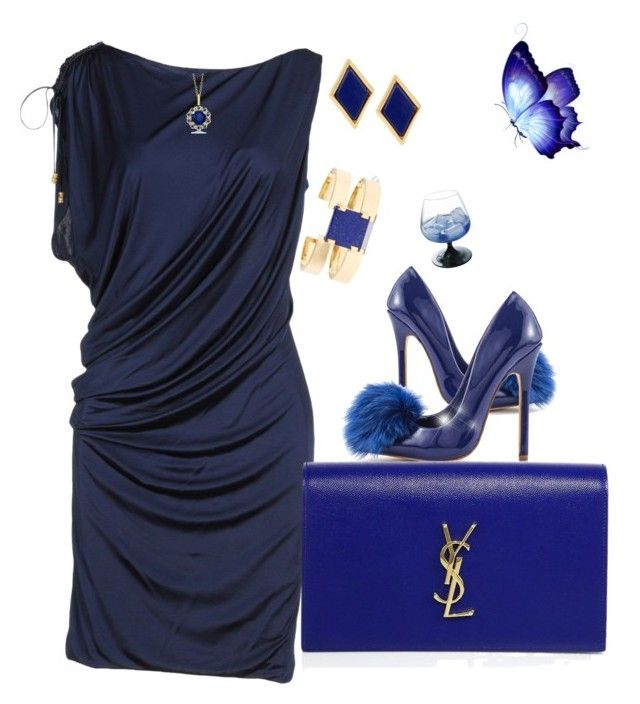 Blue Night by Diva of Cake  featuring polyvore fashion style Roberto Cavalli Privileged Yves Saint Laurent Isabel Marant Charm & Chain Allurez clothing
