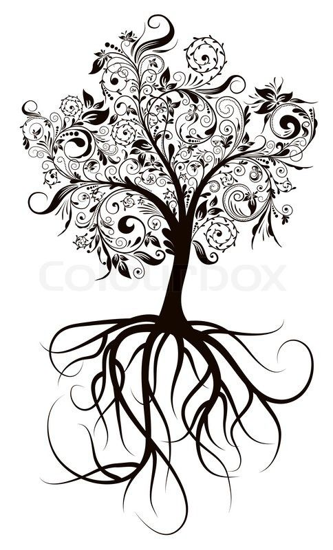 Stock vector ✓ 10 M images ✓ High quality images for web & print | Decorative tree & roots , vector illustration