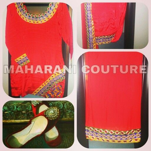 I named this suit red Tomatoe. I m in love with this color. Check out my fb page Maharani Couture