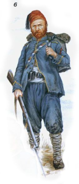 Turkish Army. Russian-Turkish War of 1877-78. Junior non-commissioned officer of line infantry. Yellow decoration uniform shows belonging to the 1st regiment in the Corps