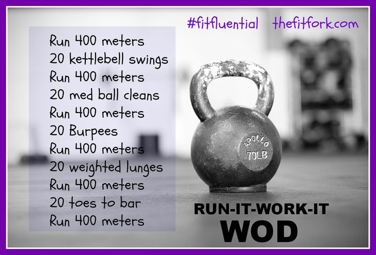 CrossFit Run It Work It WOD: Run 400m, kettlebell swings, medicine ball cleans, burpees, lunges, toes to bar.
