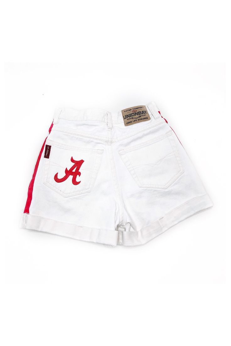 Alabama White Distressed High Waist Shorts | INSPIRE BOUTIQUE #college #tailgate #outfits #ideas #diy #style #fashion #distressed #denimshorts #white #red