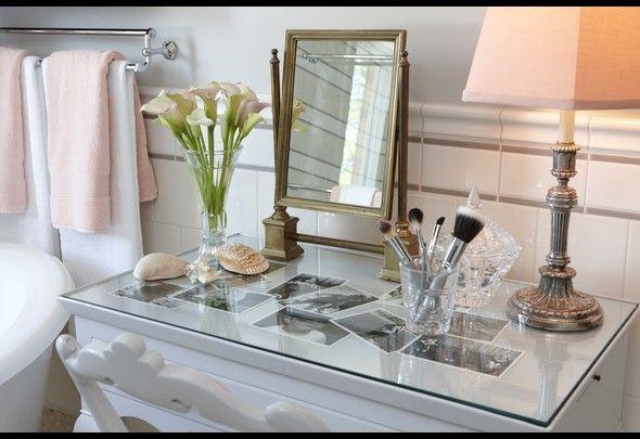 Vanity glasstop with loved photos Sarah 101: Season 01   Photos   HGTV Canada