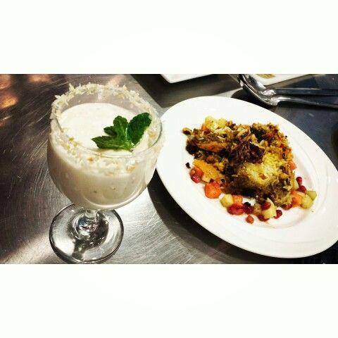 Banana lassi, chicken biryani with chicken korma and fruit chaat masala