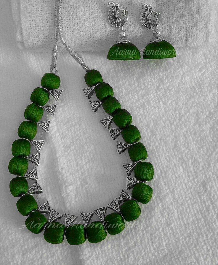 Green Beads with Bails Set