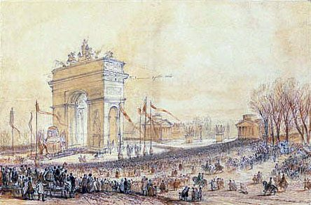 Retour des cendres de Napoléon Ier de Sainte-Hélène. 15 décembre 1840 : le char funèbre de Napoléon passe sous l'arc de triomphe de l'Etoile à Paris.