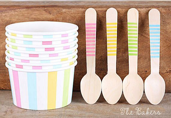 Pastel Rainbow Stripe Ice Cream Cups & by thebakersconfections, $13.99