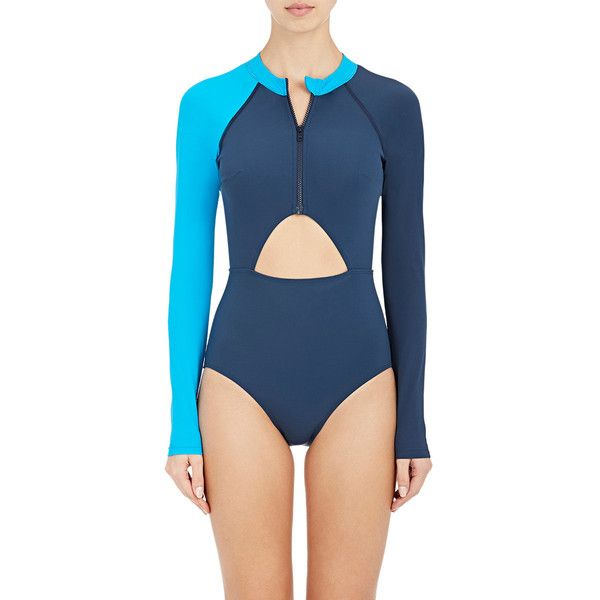 Flagpole Swim Women's Kelly One-Piece Swimsuit (£360) ❤ liked on Polyvore featuring swimwear, one-piece swimsuits, navy, color block swimsuits, one piece bathing suits, colorblock one piece swimsuit, cut-out one piece swimsuits and colorblock one piece bathing suit