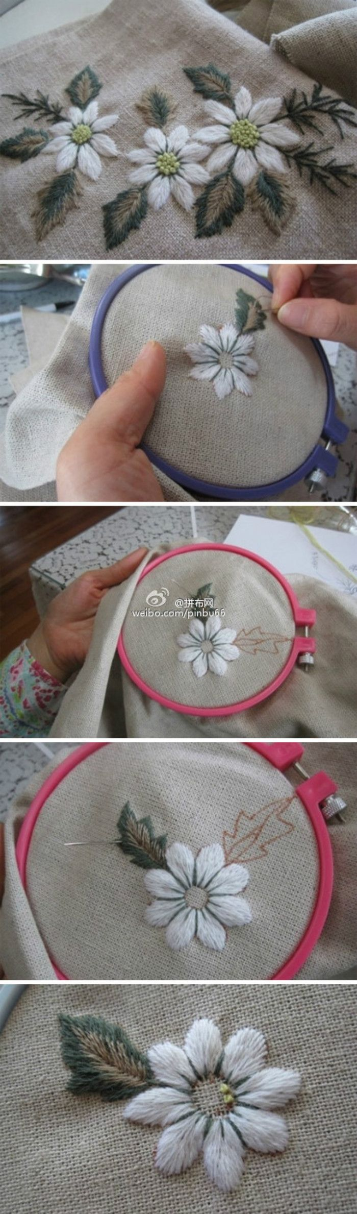 Overlapping leaf color embroidery method  translate page