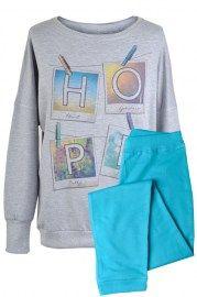 MUZZY nightwear, Piżama ciepła, bawełniana od spodu z meszkiem. W  szarym kolorze z napisem Hope, spodnie długie turkusowe ze  ściągaczami. Więcej na www.muzzy.pl/sklep