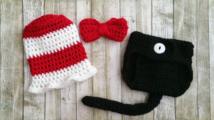 Dr Seuss Inspired Hat & Diaper Cover Set-Crochet Dr Seuss Hat-Crochet Dr Seuss Outfit-Cat in the Hat set-Dr Seuss Costume-Photo Prop by ALittleLadyandMe on Etsy